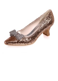 Women's Sparkling Glitter Kitten Heel Closed Toe Pumps With  ...