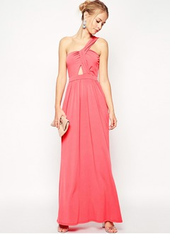 Sheath/Column One-Shoulder Ankle-Length Chiffon Prom Dress With Ruffle