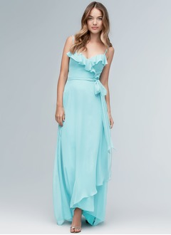 A-Line/Princess V-neck Sweep Train Chiffon Bridesmaid Dress With Cascading Ruffles