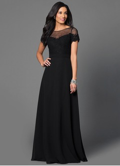 A-Line/Princess Scoop Neck Floor-Length Chiffon Prom Dress With Lace