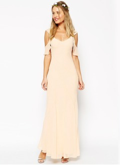 Sheath/Column V-neck Ankle-Length Chiffon Bridesmaid Dress  ...