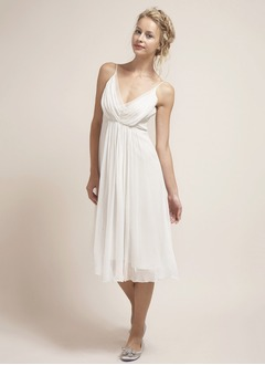 Empire V-neck Knee-Length Chiffon Wedding Dress With Ruffle