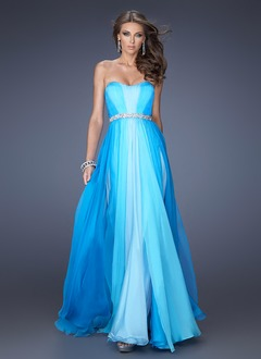 A-Line/Princess Strapless Sweetheart Floor-Length Chiffon Evening Dress With Beading