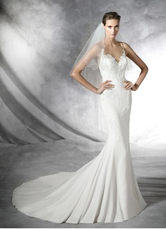 Trumpet/Mermaid Scoop Neck Court Train Chiffon Tulle Wedding Dress With Appliques Lace