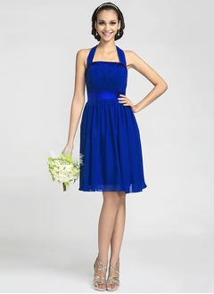 A-Line/Princess Halter Knee-Length Chiffon Charmeuse Bridesmaid Dress With Ruffle