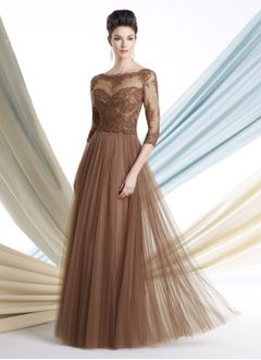 A-Line/Princess Scoop Neck Floor-Length Tulle Mother of the Bride Dress With Lace Beading