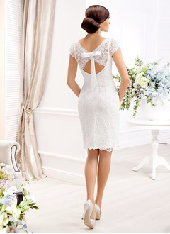 Sheath/Column Scoop Neck Knee-Length Lace Wedding Dress With Beading Bow(s)
