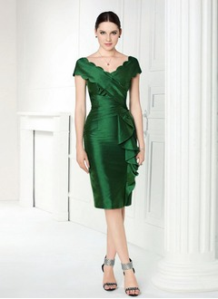 Sheath/Column V-neck Knee-Length Taffeta Mother of the Bride Dress With Ruffle Cascading Ruffles