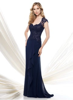 A-Line/Princess V-neck Sweep Train Chiffon Lace Mother of the Bride Dress With Cascading Ruffles