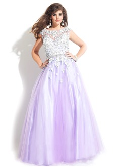 Ball-Gown Scoop Neck Floor-Length Tulle Charmeuse Prom Dress With Beading Appliques Lace
