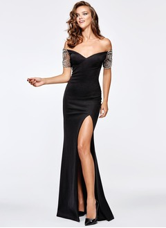 Sheath/Column Strapless Sweetheart Floor-Length Satin Evening Dress With Beading Appliques Lace Split Front