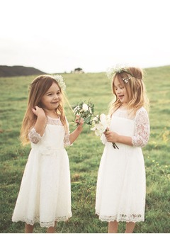 A-Line/Princess Scoop Neck Tea-Length Lace Flower Girl Dress