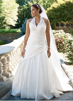 A-Line/Princess Halter Sweep Train Taffeta Lace Wedding Dress With Ruffle
