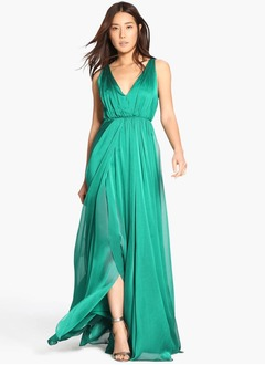 Empire V-neck Sweep Train 30D Chiffon Evening Dress With Split Front Pleated