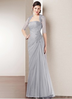 A-Line/Princess Strapless Floor-Length Tulle Evening Dress With Ruffle Appliques Lace