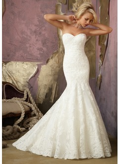 Trumpet/Mermaid Strapless Sweetheart Court Train Satin Lace Wedding Dress