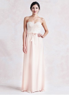 Sheath/Column Strapless Sweetheart Floor-Length Chiffon Lace Bridesmaid Dress With Lace Bow(s)
