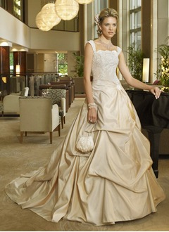 Ball-Gown Square Neckline Chapel Train Taffeta Wedding Dress With Ruffle Lace Beading