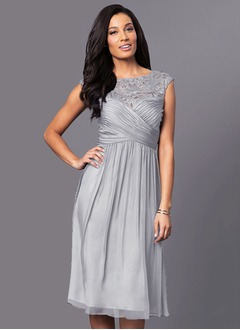 A-Line/Princess Scoop Neck Knee-Length 30D Chiffon Mother of the Bride Dress With Ruffle Lace