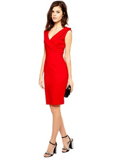 Sheath/Column V-neck Knee-Length Chiffon Cocktail Dress  ...