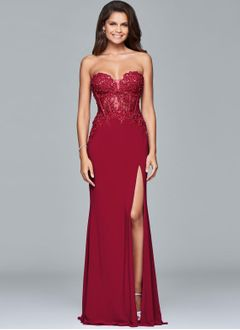 A-Line/Princess Strapless Sweetheart Floor-Length Chiffon Evening Dress With Beading Appliques Lace