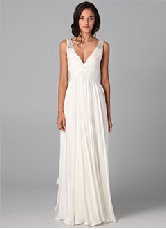 A-Line/Princess V-neck Floor-Length Chiffon Wedding Dress With Ruffle Beading