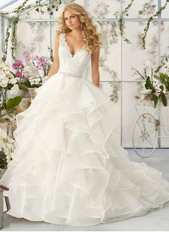 Ball-Gown V-neck Court Train Organza Wedding Dress With Lace  ...