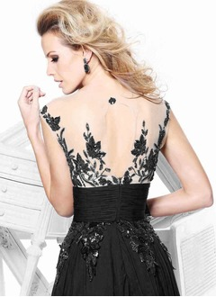 A-Line/Princess Scoop Neck Sweep Train Chiffon Tulle Evening Dress With Beading Appliques Lace