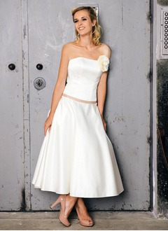 A-Line/Princess Strapless Ankle-Length Satin Wedding Dress With Sash