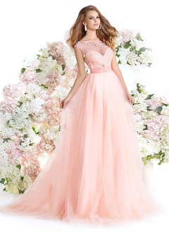 Ball-Gown Scoop Neck Court Train Tulle Prom Dress With Beading Flower(s)