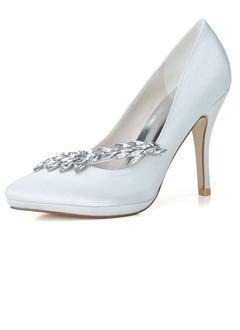 Women's Satin Stiletto Heel Closed Toe Pumps With Rhinestone  ...