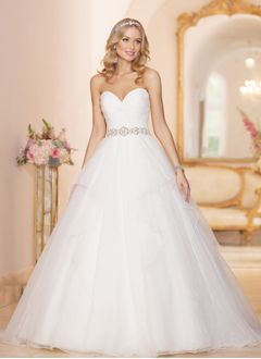 Ball-Gown Strapless Sweetheart Court Train Organza Wedding Dress With Beading