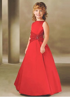 A-Line/Princess Scoop Neck Floor-Length Satin Flower Girl Dress With Sash Beading