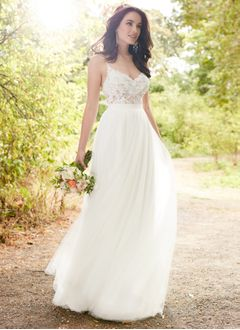 A-Line/Princess Sweetheart Floor-Length Tulle Lace Wedding Dress