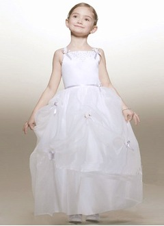 A-Line/Princess Strapless Floor-Length Organza Satin Flower Girl Dress With Ruffle Sash