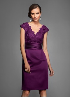 Sheath/Column V-neck Knee-Length Satin Evening Dress With Appliques Lace