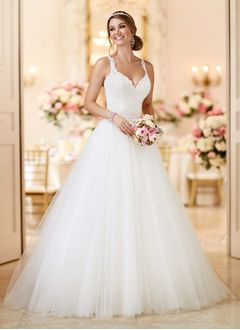 Ball-Gown V-neck Court Train Tulle  ...