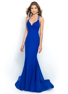 Trumpet/Mermaid V-neck Sweep Train Chiffon Evening Dress With Beading Cascading Ruffles