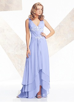 A-Line/Princess V-neck Asymmetrical Chiffon Mother of the Bride Dress With Lace Beading Sequins Cascading Ruffles
