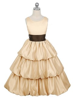 A-Line/Princess Scoop Neck Floor-Length Taffeta Flower Girl Dress With Sash (01005009701)