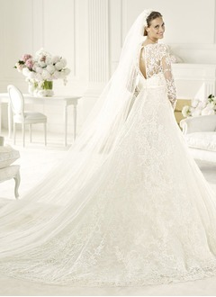 A-Line/Princess V-neck Cathedral Train Satin Lace Wedding Dress With Flower(s)