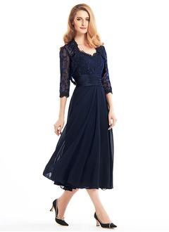A-Line/Princess V-neck Tea-Length Chiffon Lace Mother of the Bride Dress With Ruffle