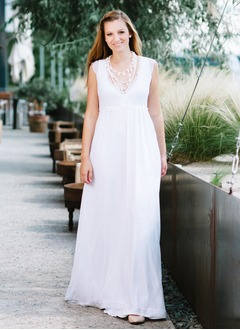 Empire V-neck Sweep Train Chiffon Wedding Dress With Lace