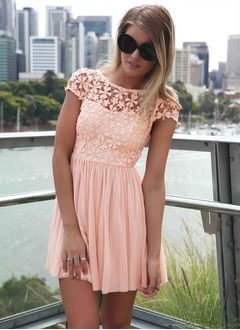 A-Line/Princess Scoop Neck Short/Mini Chiffon Cocktail Dress  ...