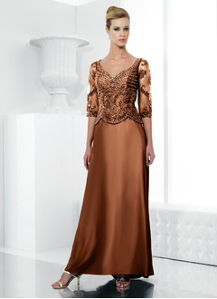 A-Line/Princess V-neck Sweep Train Charmeuse Mother of the Bride Dress With Lace Beading Sequins