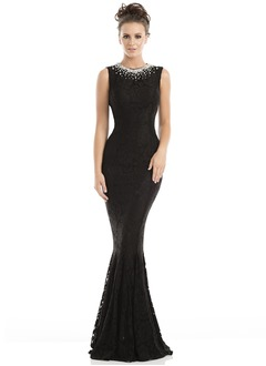 Trumpet/Mermaid Scoop Neck Sweep Train Lace Evening Dress With Lace Beading