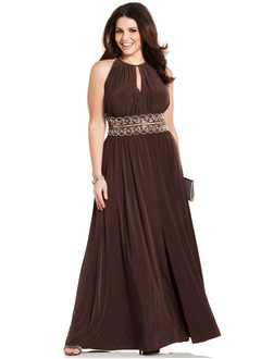 A-Line/Princess Scoop Neck Floor-Length Chiffon Evening Dress  ...