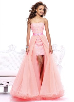 A-Line/Princess Strapless Sweetheart Detachable Organza Tulle Charmeuse Prom Dress With Lace Beading