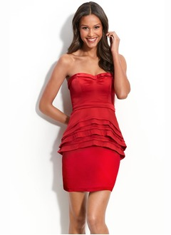 Sheath/Column Sweetheart Short/Mini Charmeuse Homecoming Dress With Ruffle
