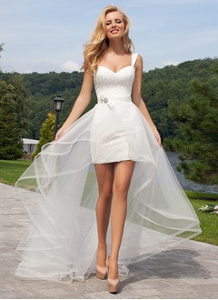 Sheath/Column Sweetheart Detachable Tulle Lace Wedding Dress With Lace